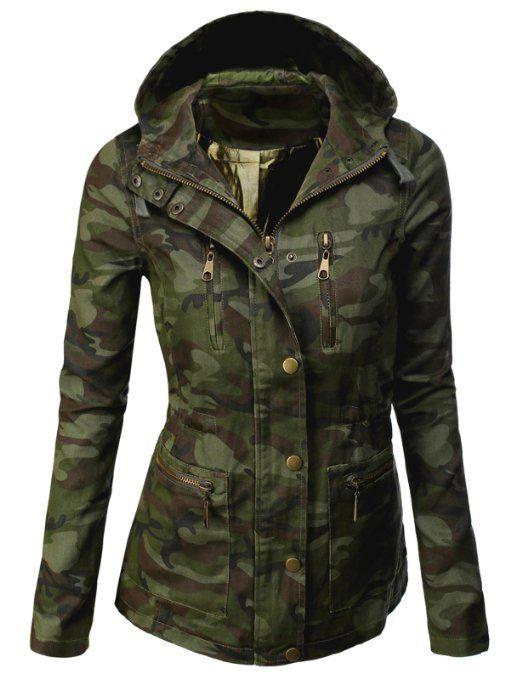 zapatos de separación 99cde 45a89 Amazon.com: Doublju Camouflage Military Jacket With Square ...