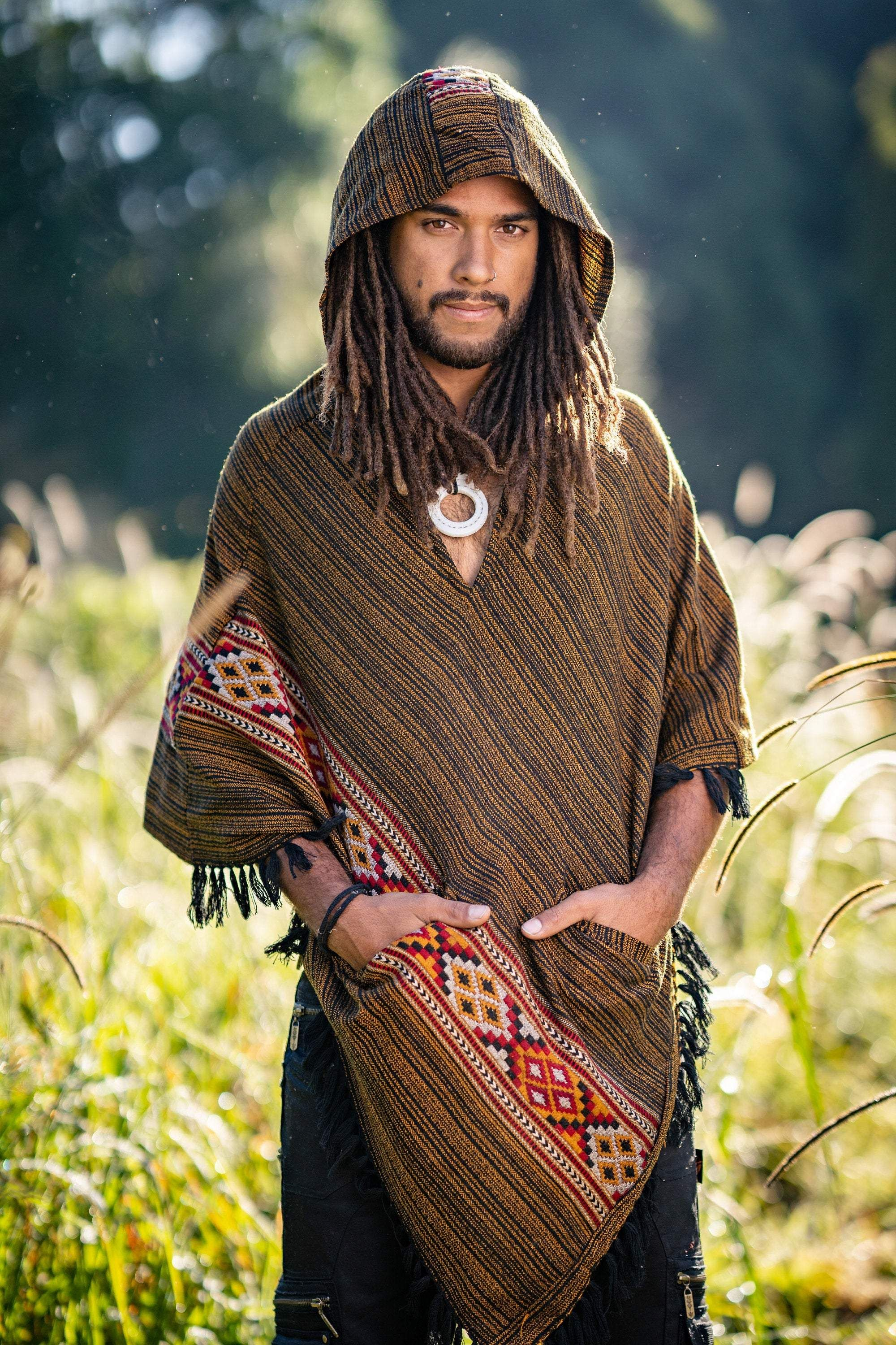 Hooded Poncho with Pockets Golden Black Cashmere Yak Wool Handmade Celtic Embroidery Gypsy Boho Primitive Festival Rave Mexican AJJAYA Mens