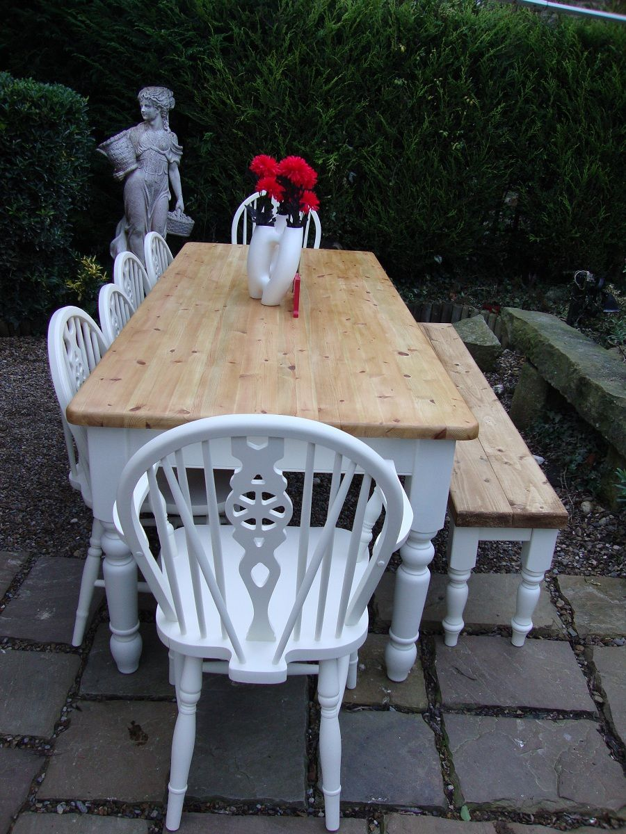 Stunning Reclaimed 7FT Farmhouse Pine Kitchen Table Bench U0026 4 Chairs Shabby  Chic Delivery Available
