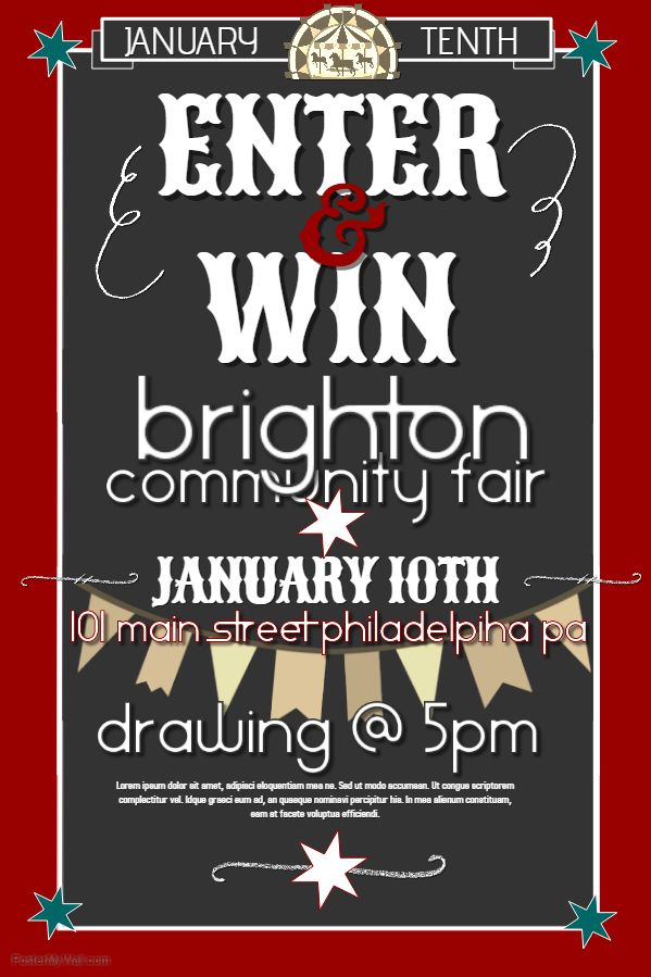 Community Fair competition sweepstakes poster template or social