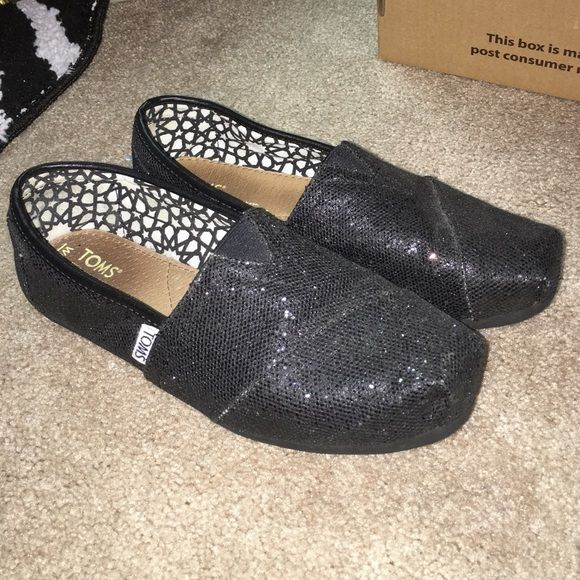 Black sparkle toms! In perfect condition and only worn twice! I love them but they are a little too big for me. They are a 6.5 W TOMS Shoes Flats & Loafers