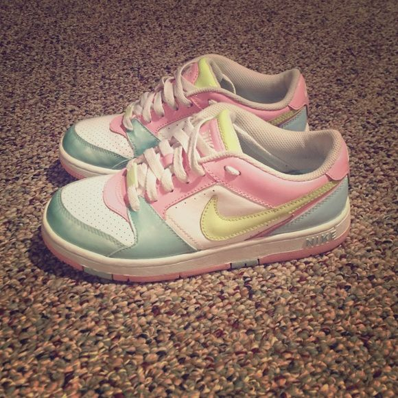 old school NIKE air max's CUSTOMIZED, worn a couple times, look brand new,  light pink/lime green & light blue colors Nike Shoes Sneakers