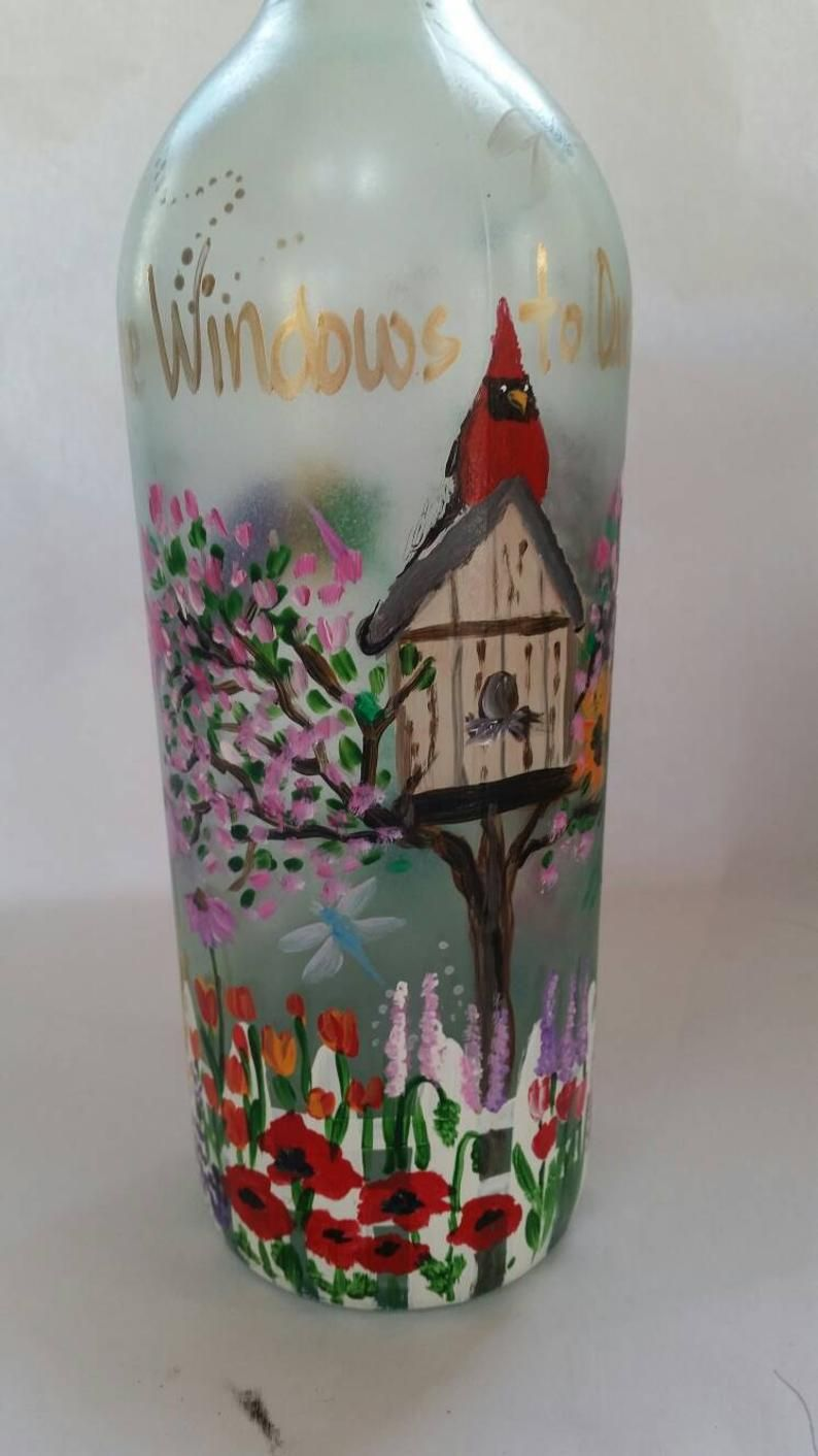 Hummingbird garden light up bottle decorative wine bottle