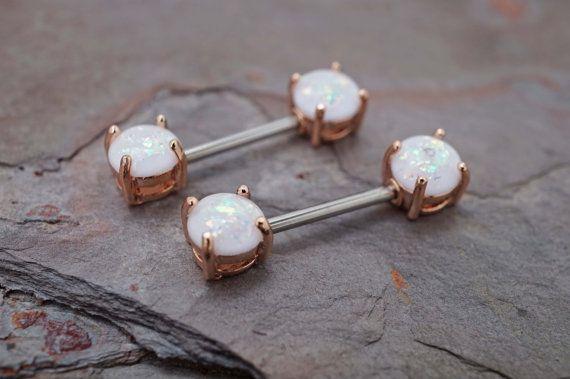 Opal Glitter Rose Gold Nipple Ring Nipple by MidnightsMojo on Etsy