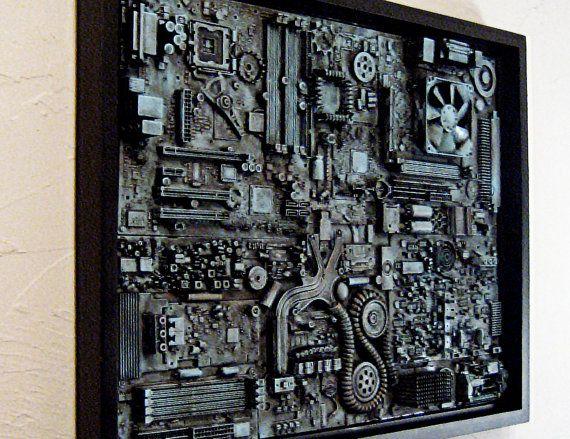 Industrial wall art. Big wall art 18x24. Unique computer steampunk ...
