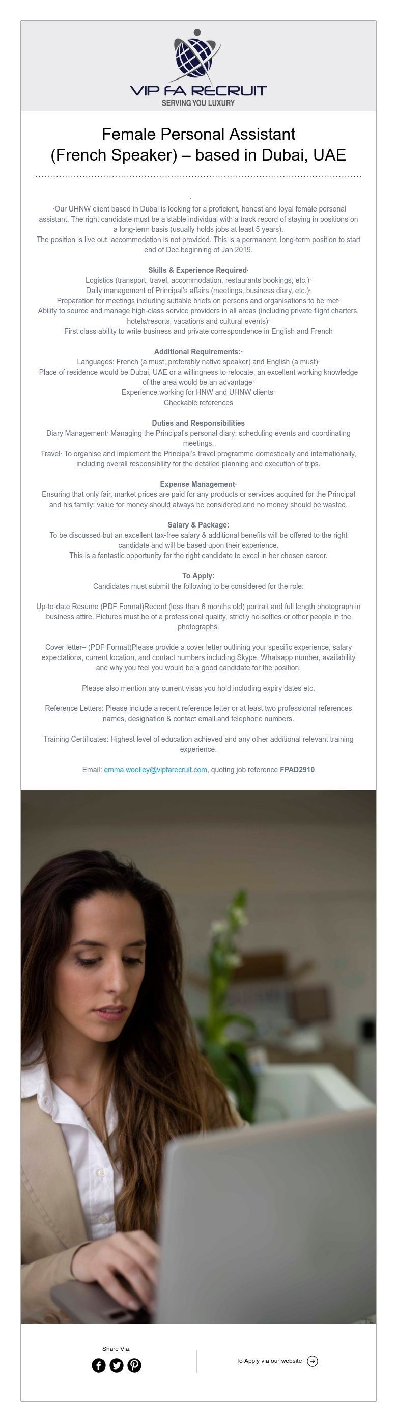 Female Personal Assistant (French Speaker) based in