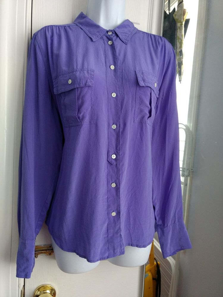 c7b5552d007b8 J.Crew 100% silk light purple periwinkle Blythe blouse sz12 Style  37871  SU12  fashion  clothing  shoes  accessories  womensclothing  tops (ebay  link)