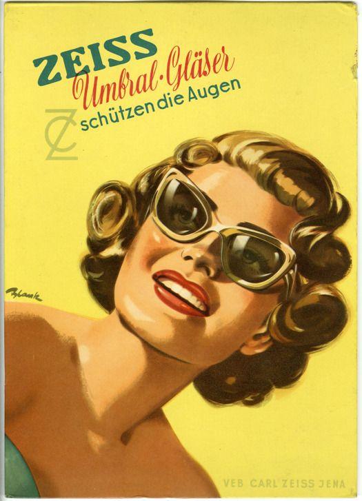 Advertisement Zeiss Umbral Lenses Protect The Eyes Werbung Zeiss Umbral Glaanser Schutzen Die Augen 1950s Vintage Eyeglasses Sunglasses Vintage