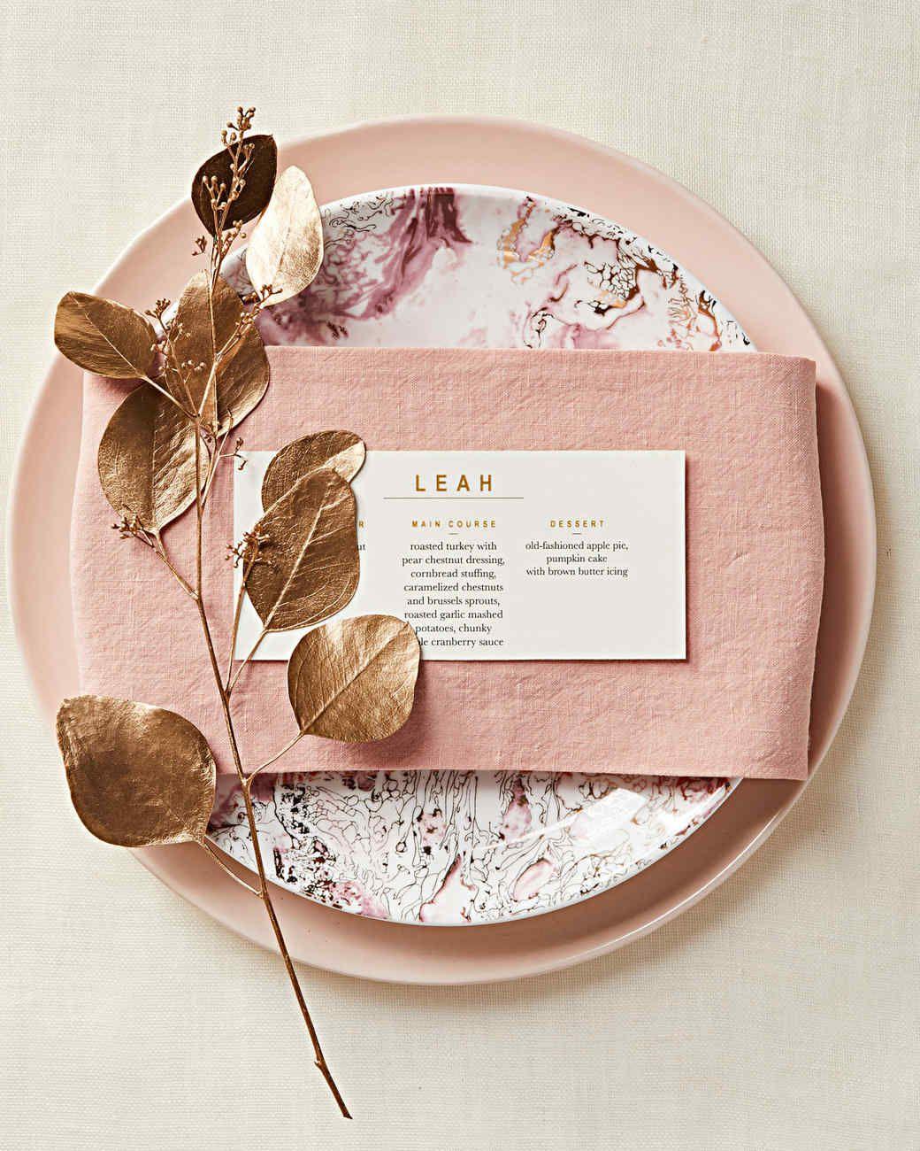 Napkin Folding Ideas For Weddings: Thanksgiving Menu Place Card