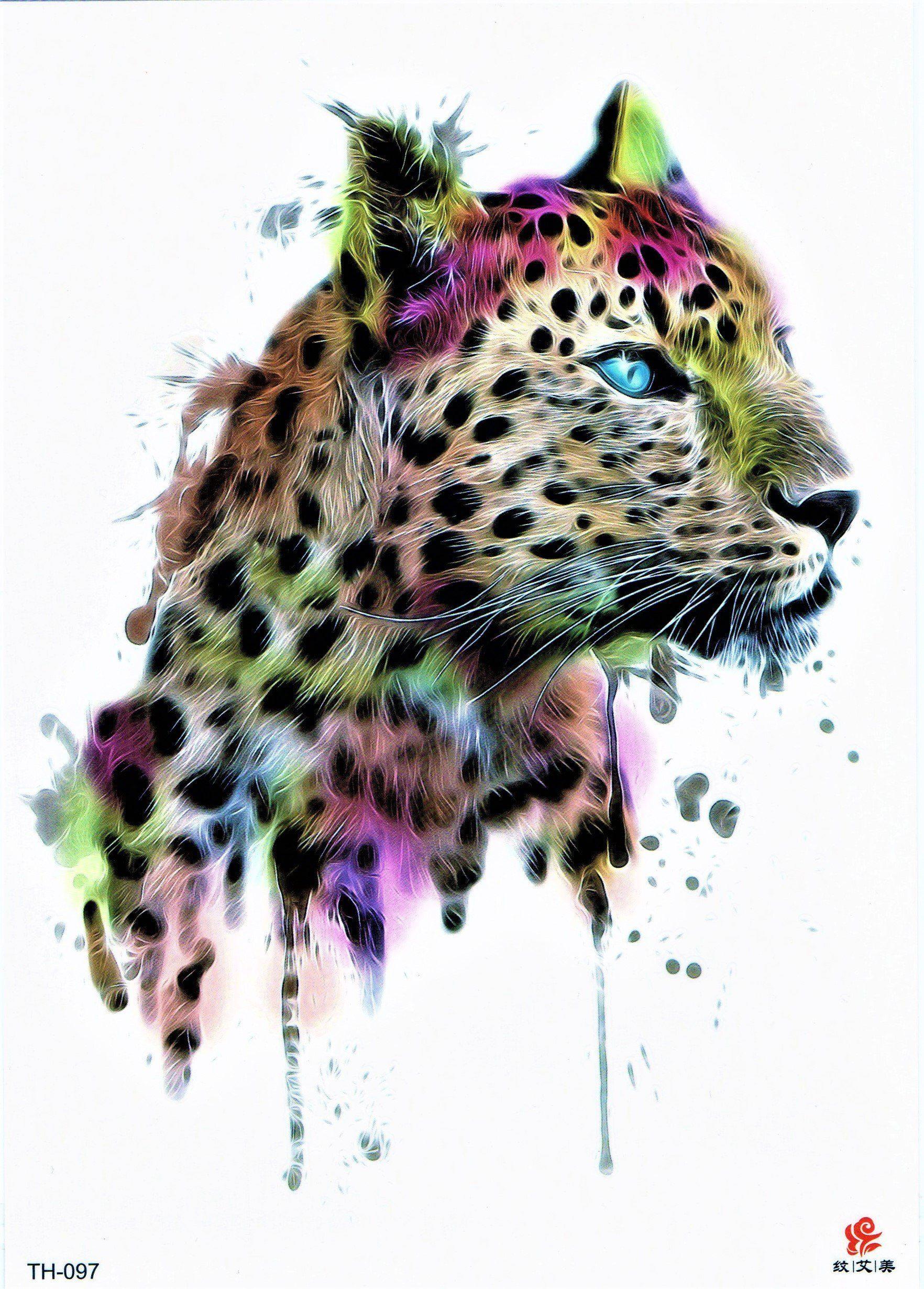 Tiger Jaguar Tier Bunt Wild Blut Aquarell Malerei Temporary