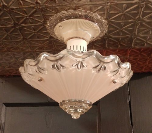 VTG-3Chain-Hanging-Ceiling-Light-Fixture-Light-Pink-Frosted-Glass-Shade-Art-Deco