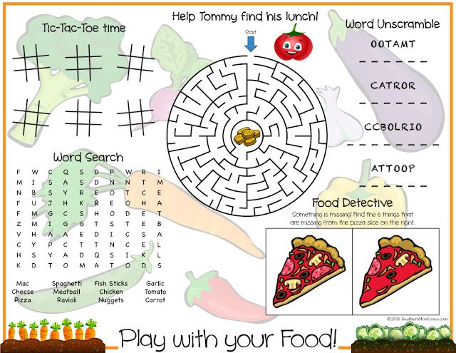 Southern Mom Loves Play With Your Food Printable Kids Placemat