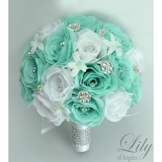 ROBIN\'S EGG BLUE TIFFANY SPA POOL AQUA WHITE | Bridal bouquets ...