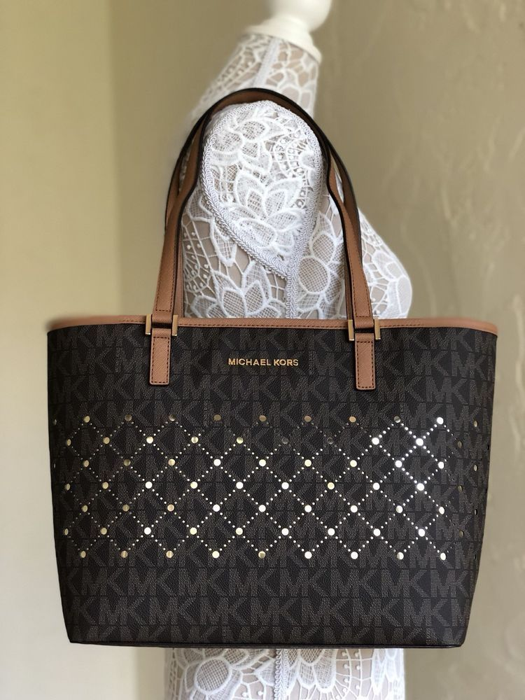 d3744cf76546 Michael Kors Jet Set Violet Small Carryall Tote Brown Logo Perforated  Leather