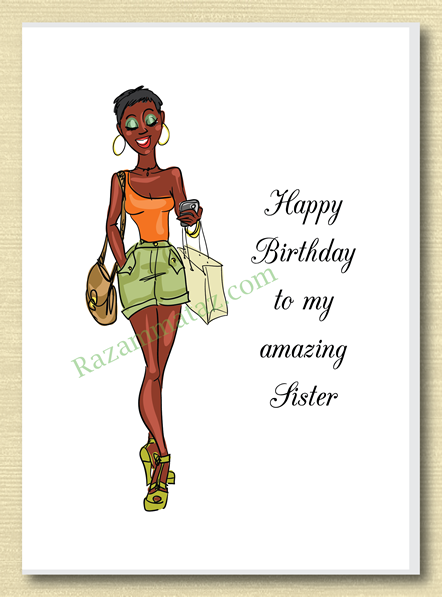 African American Sister Birthday Card A Sister Birthday Card