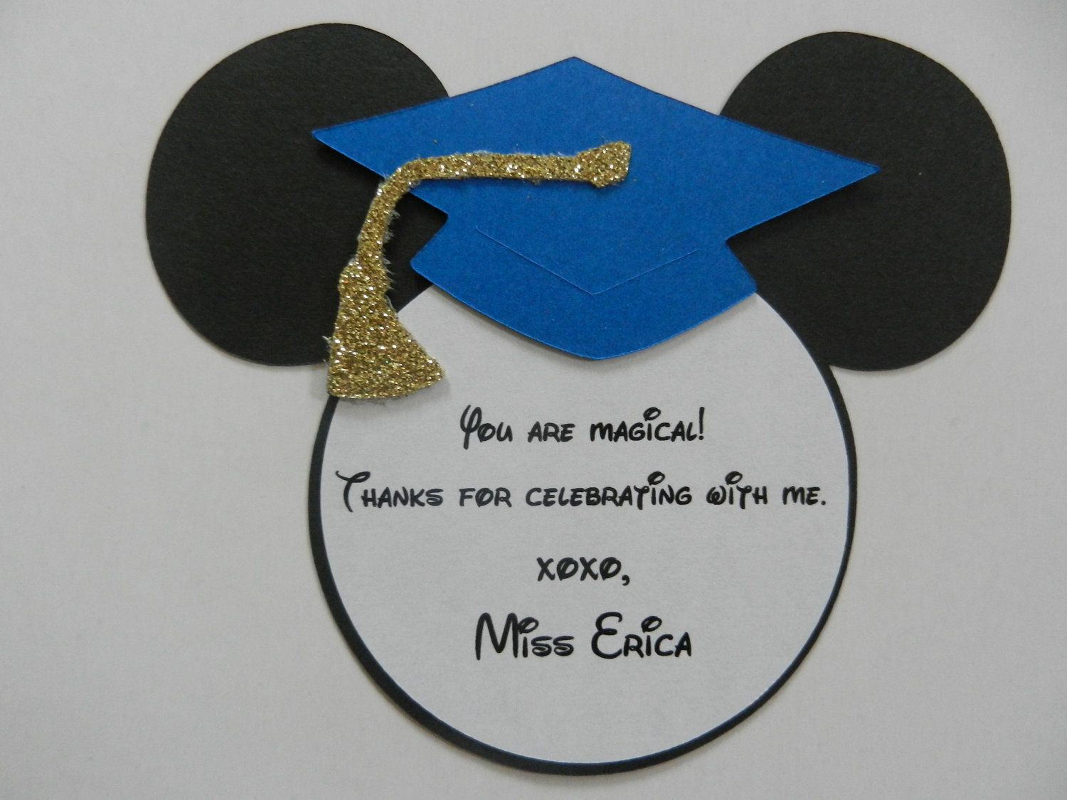 Mickey Mouse Inspired Graduation Thank You Note Tags Party Favor