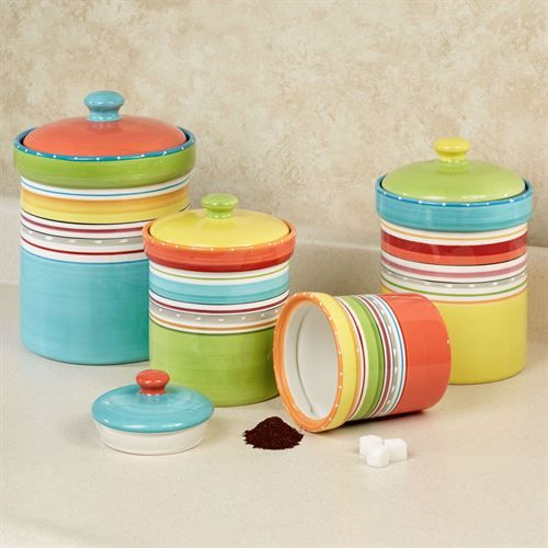 Mariachi Striped Colorful Kitchen Canister Set Kitchen Colors