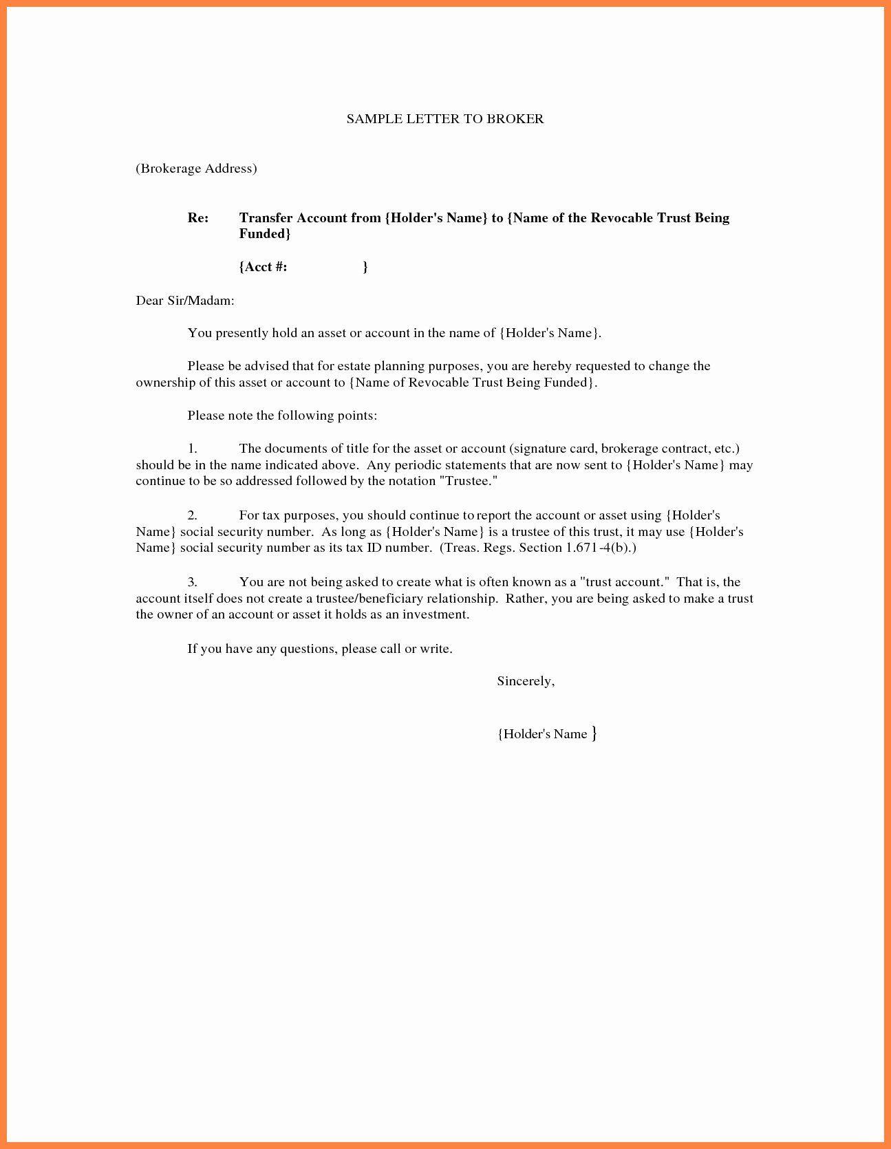 Change Of Trustee Letter Sample