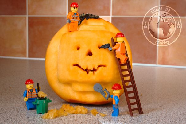The workmen were scarily good at pumpkin carving LEGO