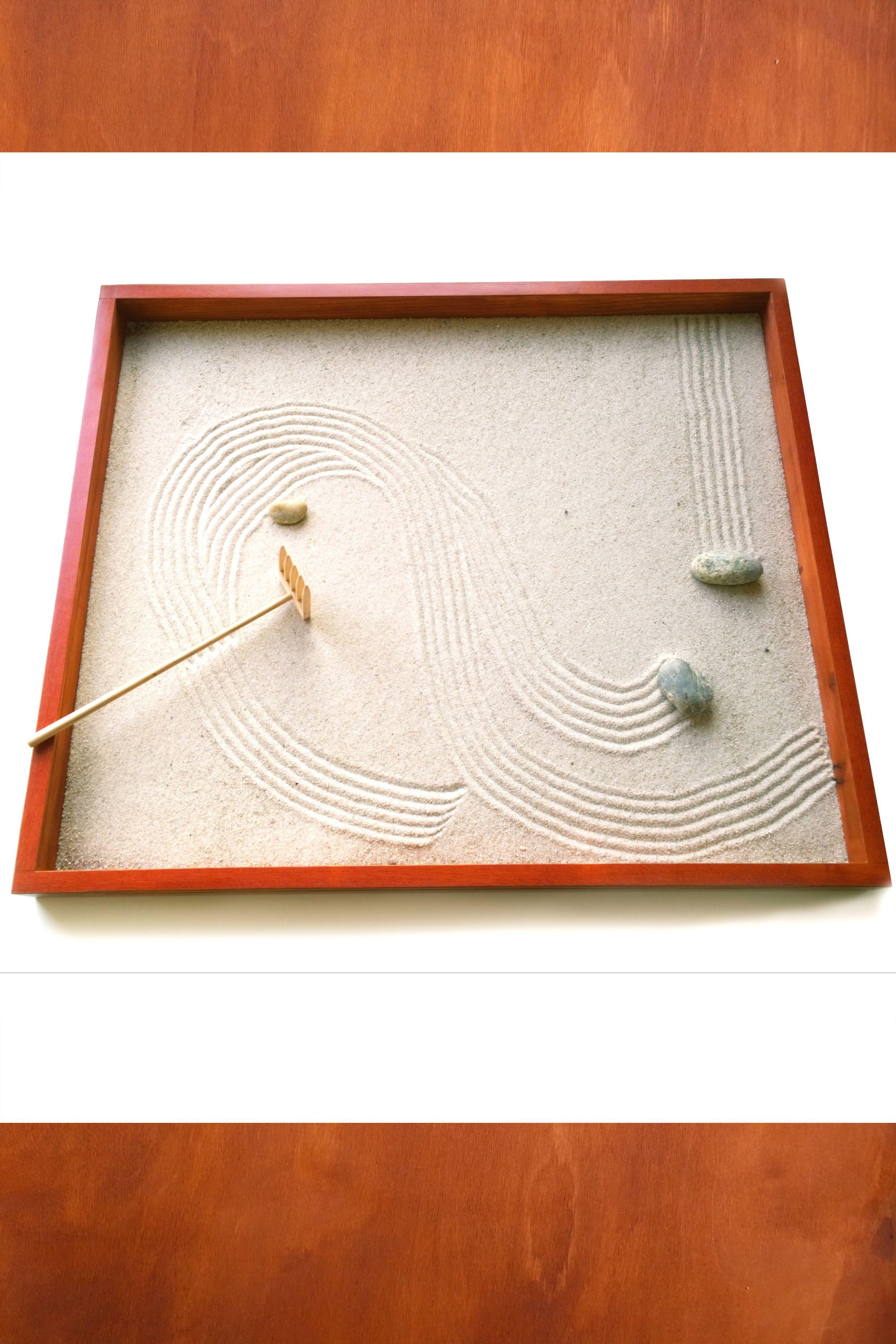 Natural Wood Handmade Zen Garden Perfect Decorative Iteam For Home Or Office Rakes Stones And Sand Are Also Incl Zen Garden Mini Zen Garden Meditation Gifts