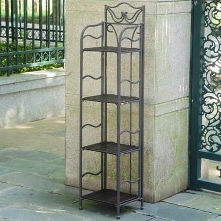 International Caravan Valencia Resin Wicker/Steel 4 Tier Folding Patio  Bakers Rack