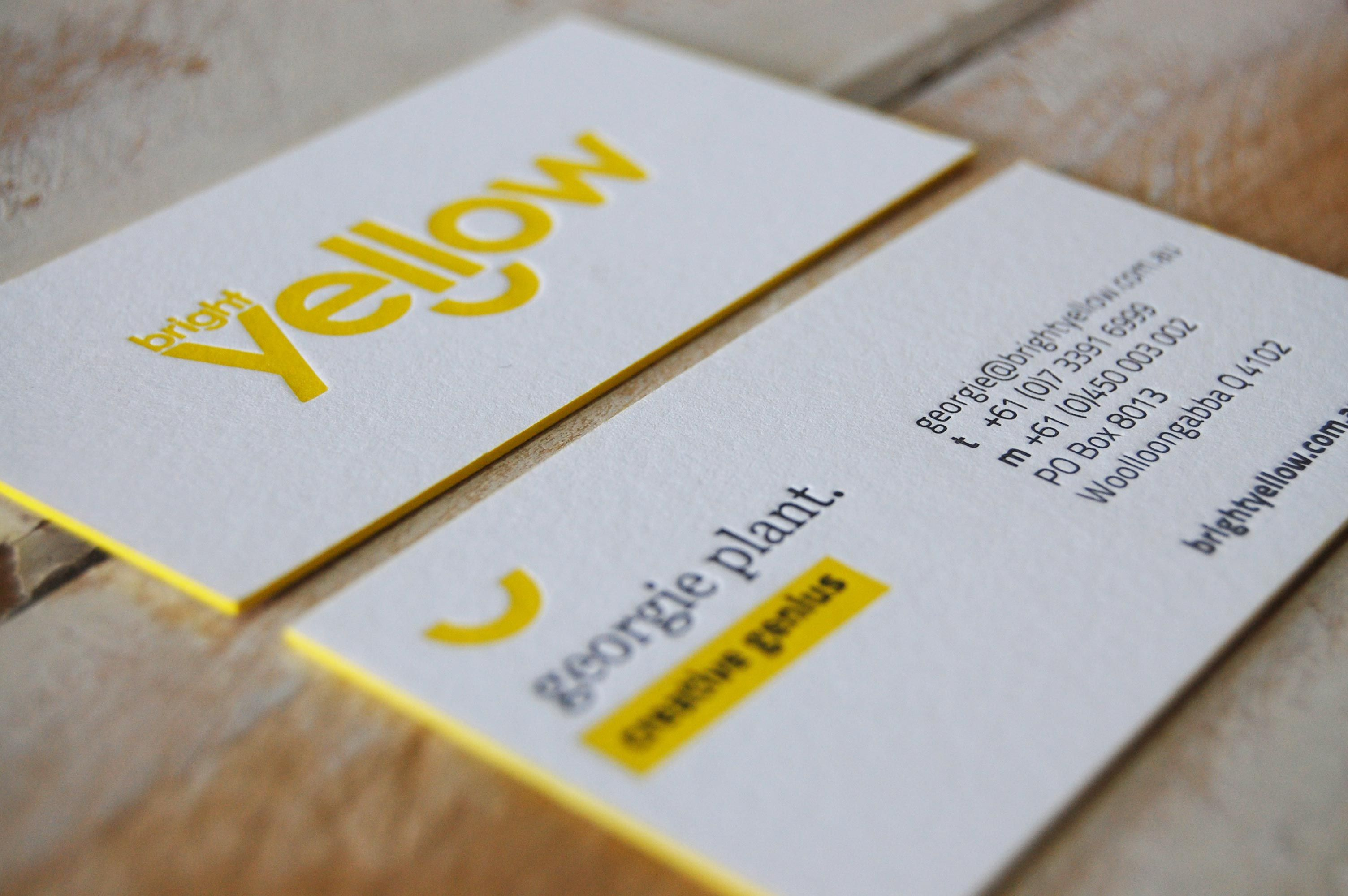 Business Cards · Image Result For Yellow Letterpress