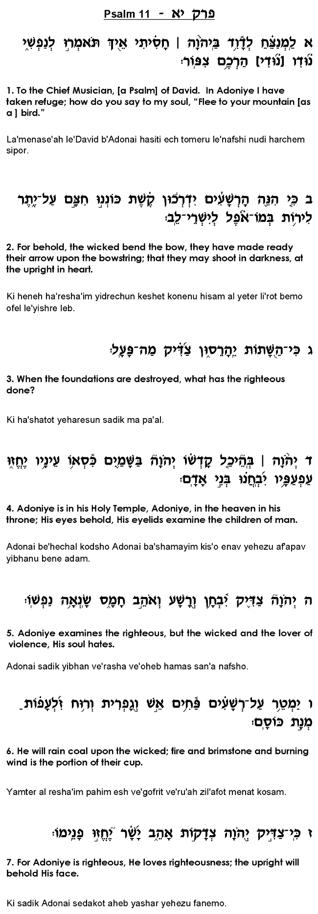 Tehillim Psalm 11 For Protection From Danger Aleph 3 Power Supply Pictures To Pin On Pinterest Evil People