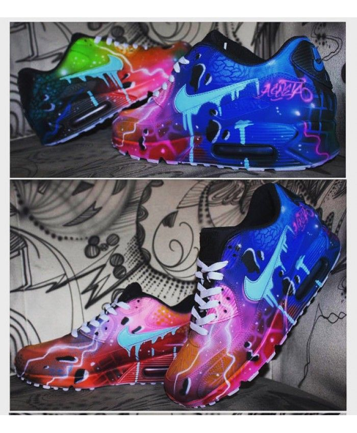 Nike Air Max 90 Custom Blue Galaxy Style Painted Airbrush