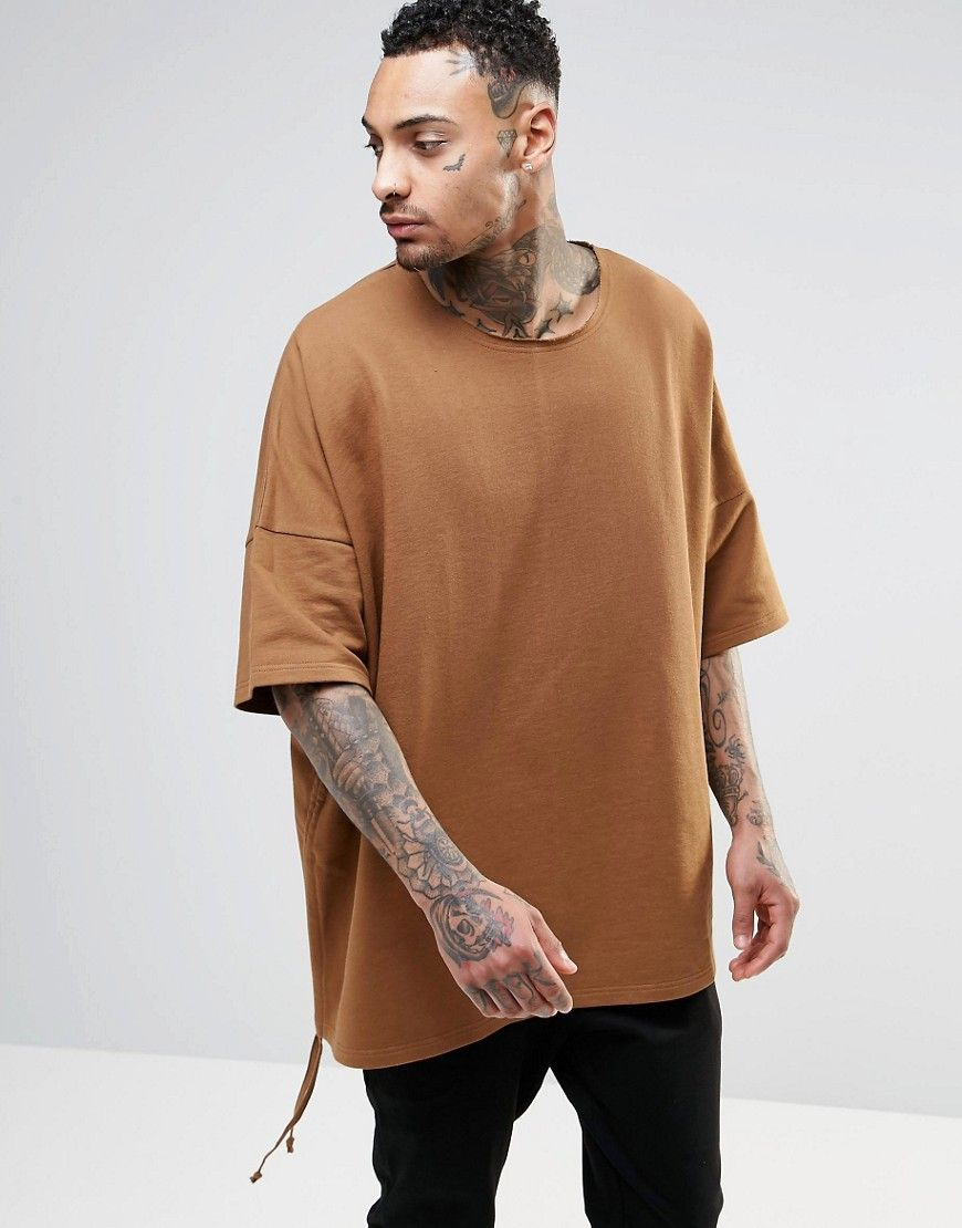 ASOS Extreme Oversized Short Sleeve Sweatshirt In Camel at asos.com