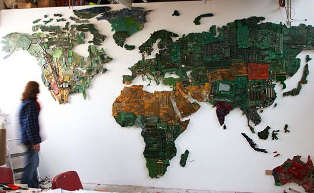 A world map created from recycled computer parts recycled art and a world map created from recycled computer parts gumiabroncs Choice Image