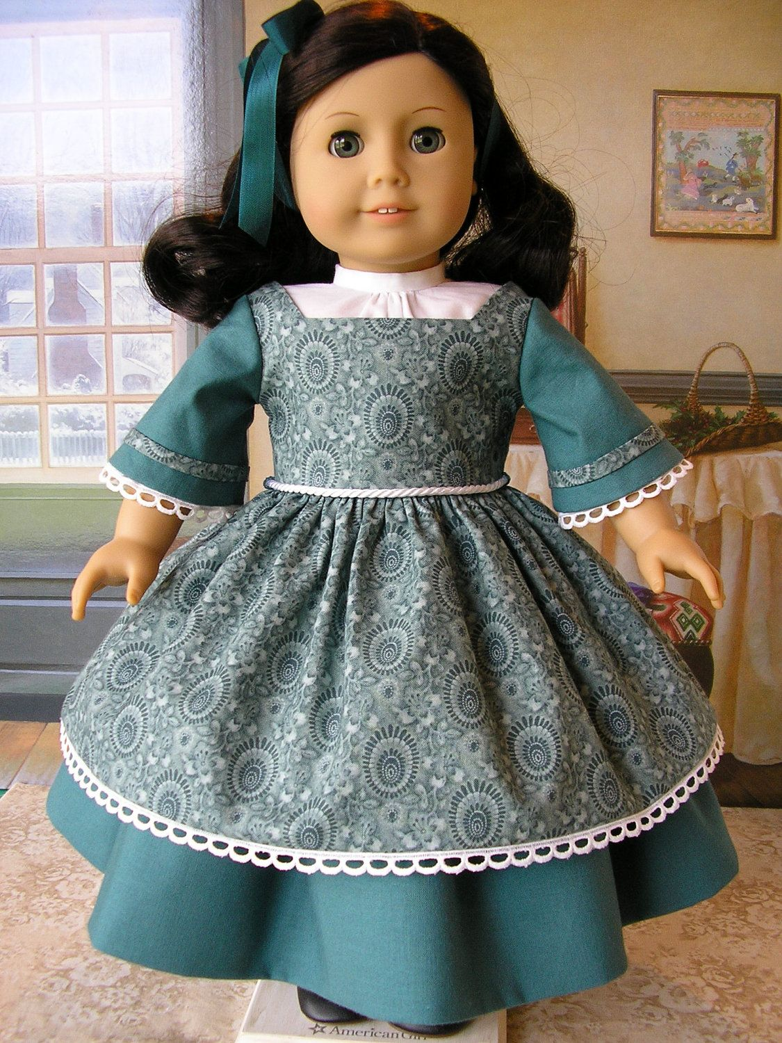 Mids gown with double skirt and chemisette hair ribbon