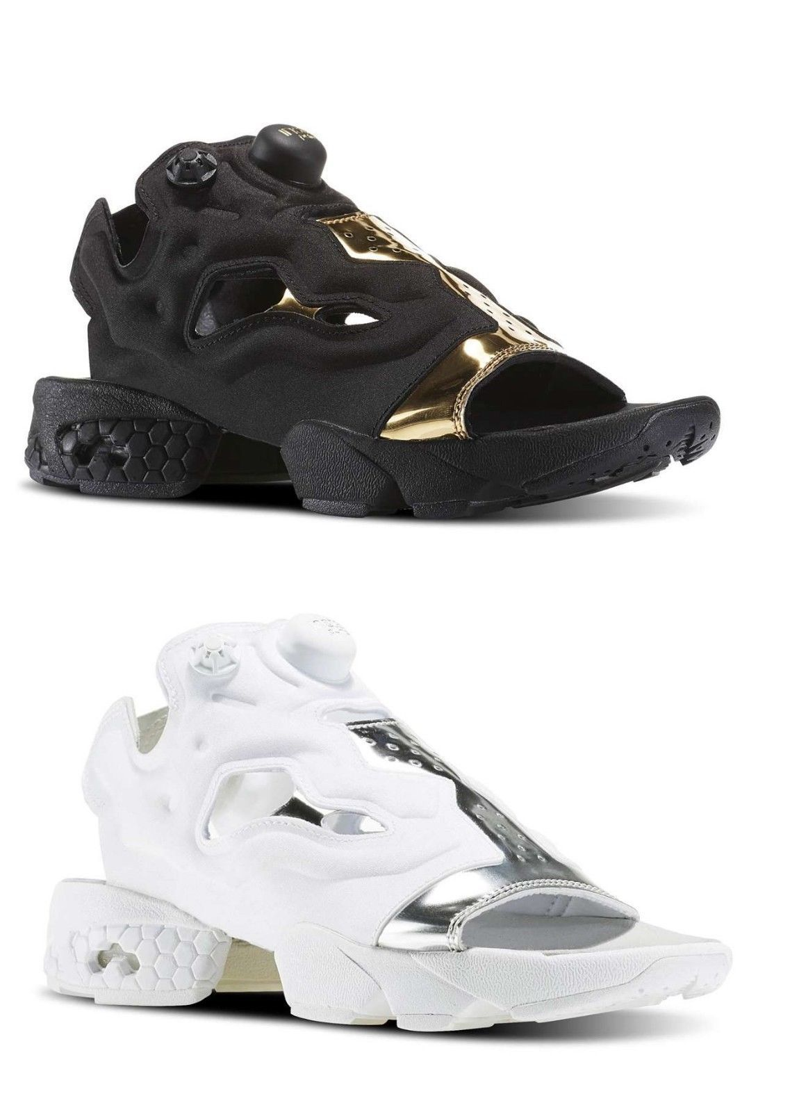 d0a7801393c1 REEBOK NEW Women INSTAPUMP Fury Mag Black Gold Comfort Sandal Slip On  Sneakers