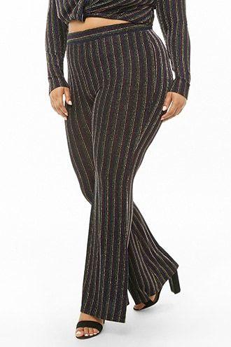 c05f6abe6b6b4 Plus Size Glitter Striped Flare Pants Metallic Yarn, Knit Pants, Plus Size  Pants,