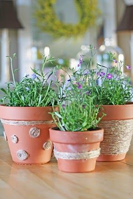 Jute flower pots craft camp jute flower and decorating flower pot crafts negle Choice Image