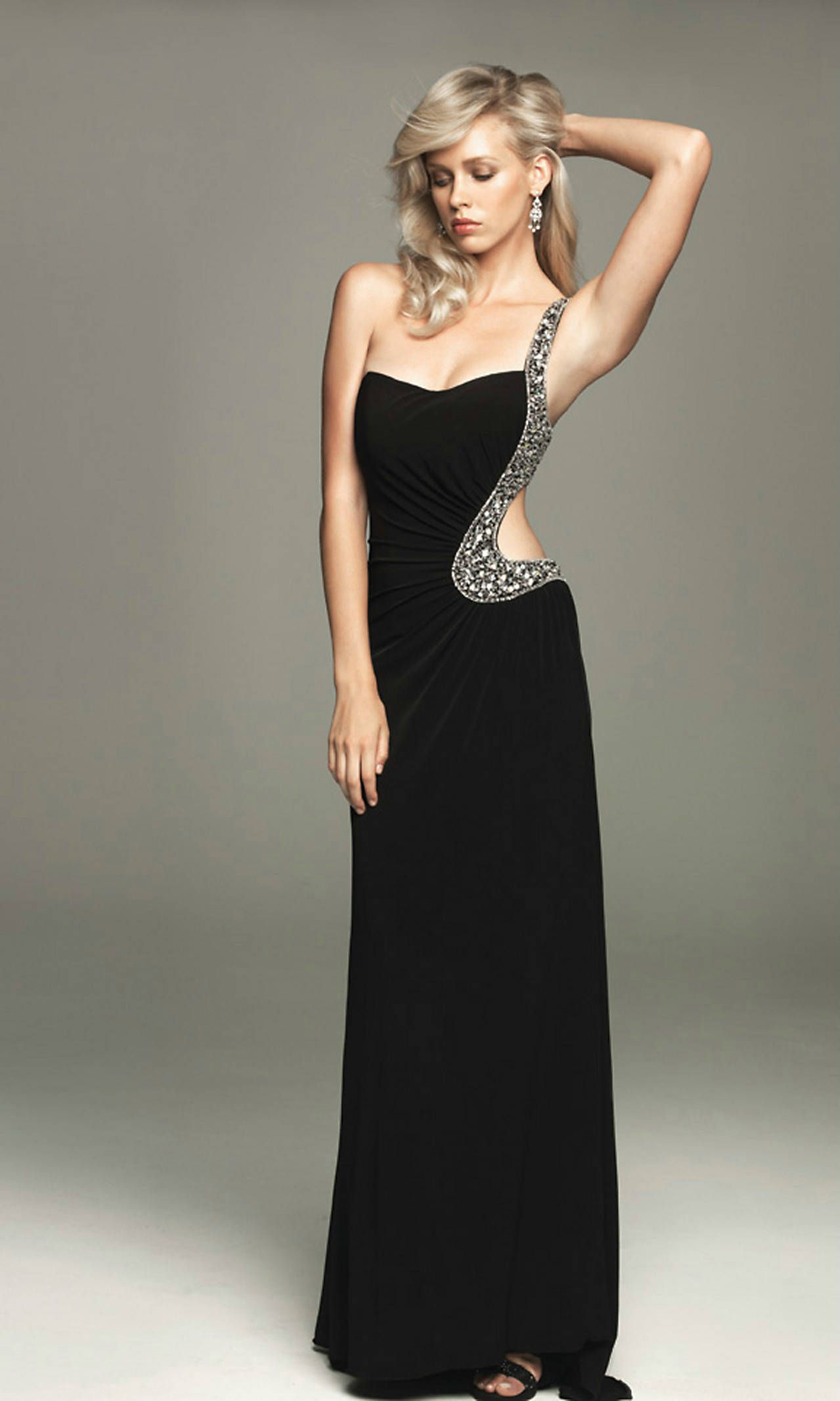 One Shoulder Long Cut Out Back Elegant Ruched Rhinestone Black ...