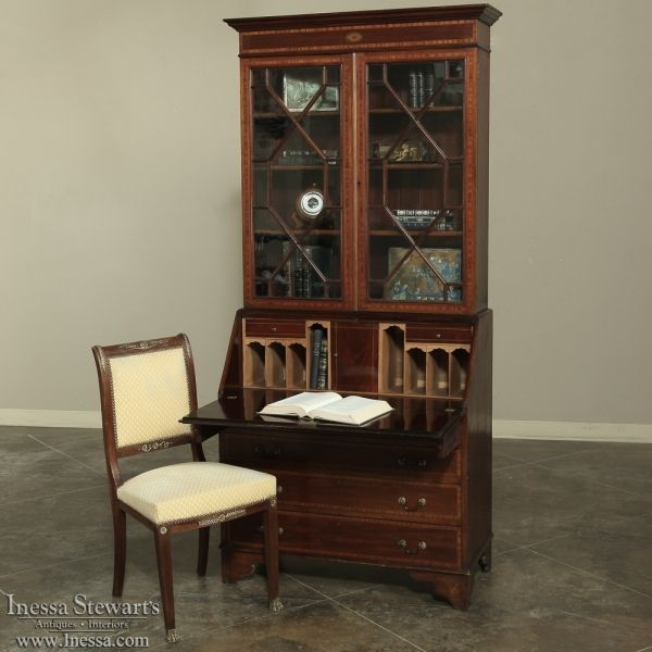 Mahogany Home Library Office: 19th Century English Mahogany