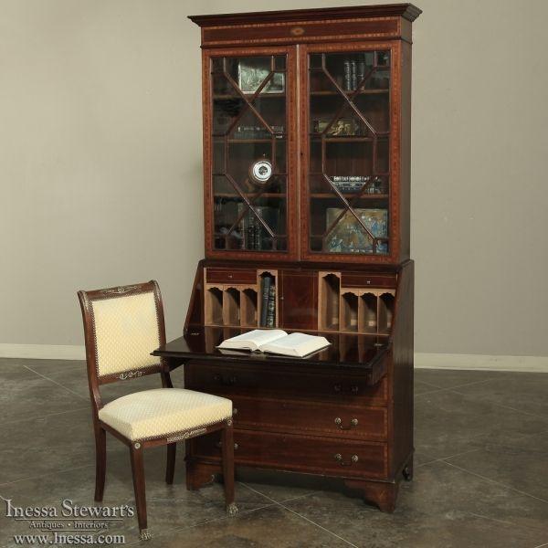 Mahogany Home Library Office: 19th Century English Mahogany