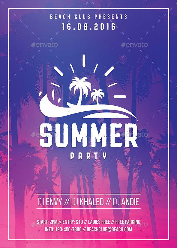 Summer Party Flyer Party flyer, Flyer template and Summer parties - pool party flyer template