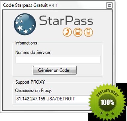 Generateur De Code Starpass-Starpass est un système de micropaiement, par exemple, si vous voulez acheter des Karma sur Dofus, vous aurez la possibilité de payer via Starpass, un code coûte 1.80€.