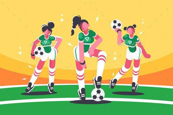 Football Woman Team Active Background Ball Cartoon Character Cheerful Competition De Football Illustration Sport Illustration Football Players