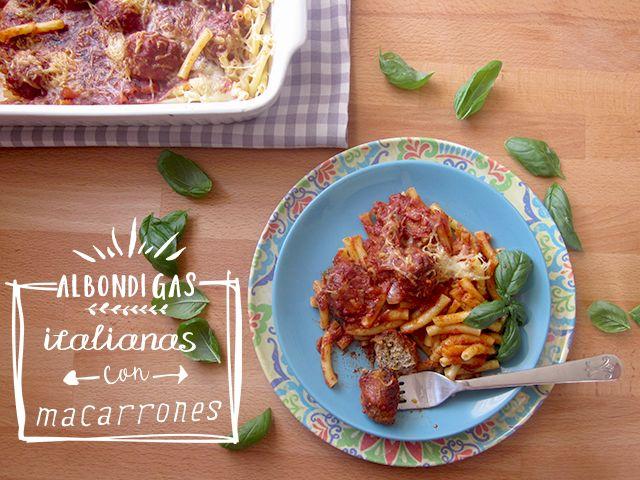 hierbas y especias: Albóndigas italianas con macarrones para madres con pelotas