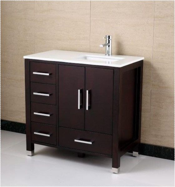 Anziano 36 Inch Espresso Bathroom Vanity W Quartz Top Left The