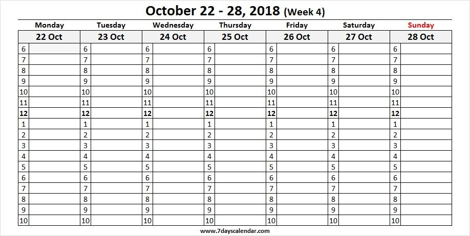 October 2018 Calendar Weekly With Time Slots October 2018 Weekly