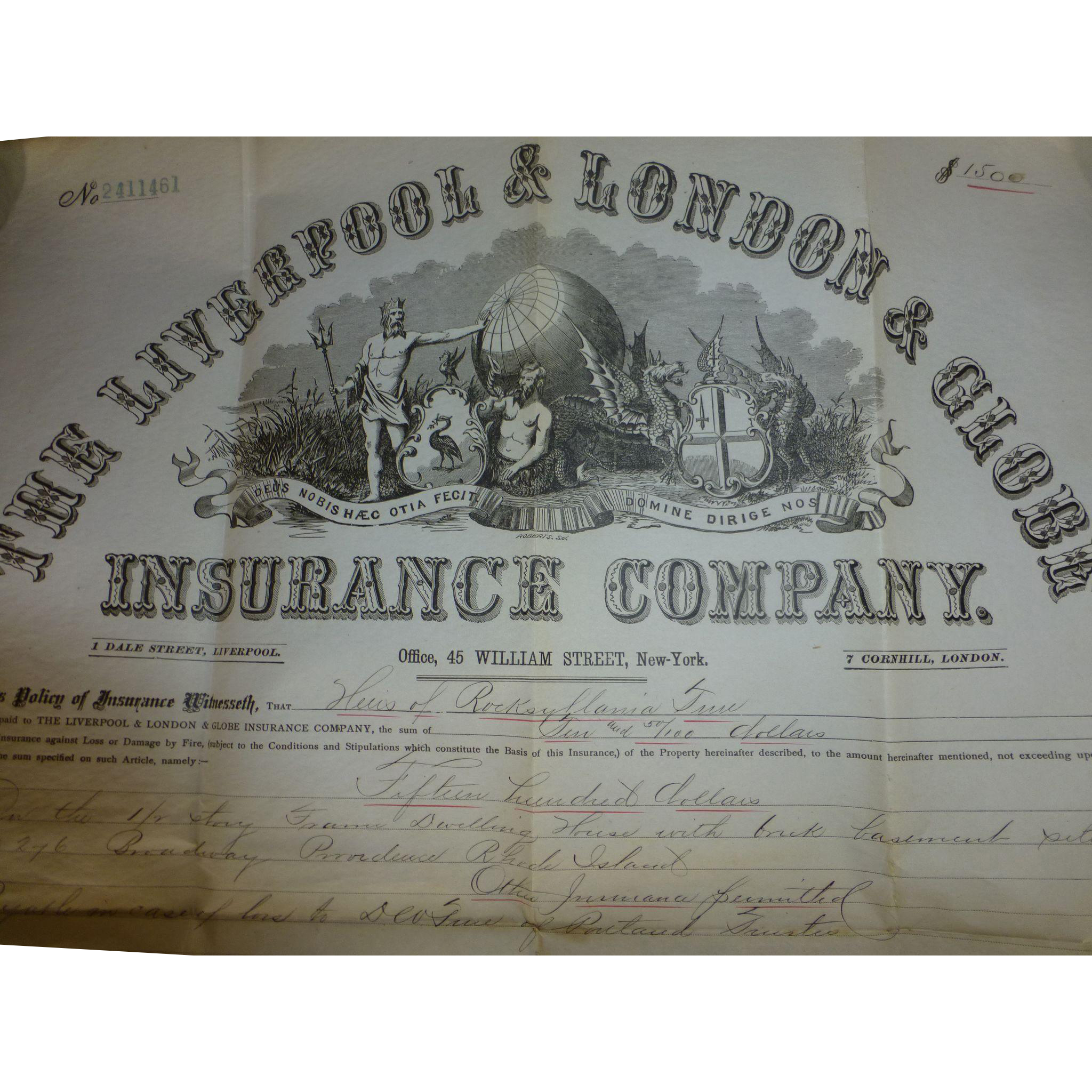 A wonderfully preserved 135 year old Fire Insurance Policy, signed ...