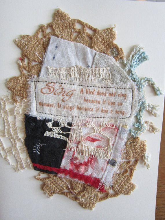 Handmade Inspirational Textile Art Cards by jln8758 on Etsy