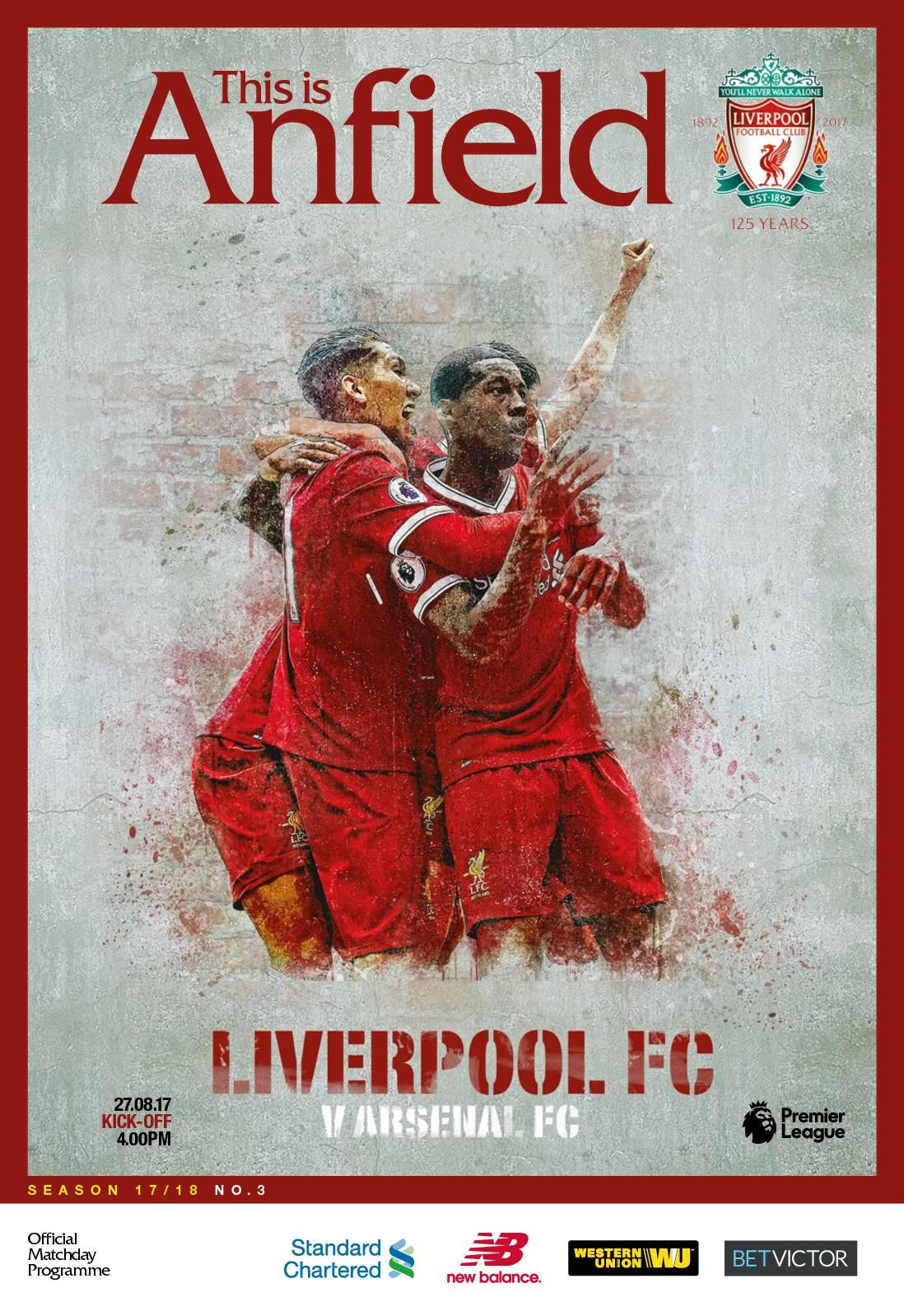 Official matchday programme for Liverpool v Arsenal