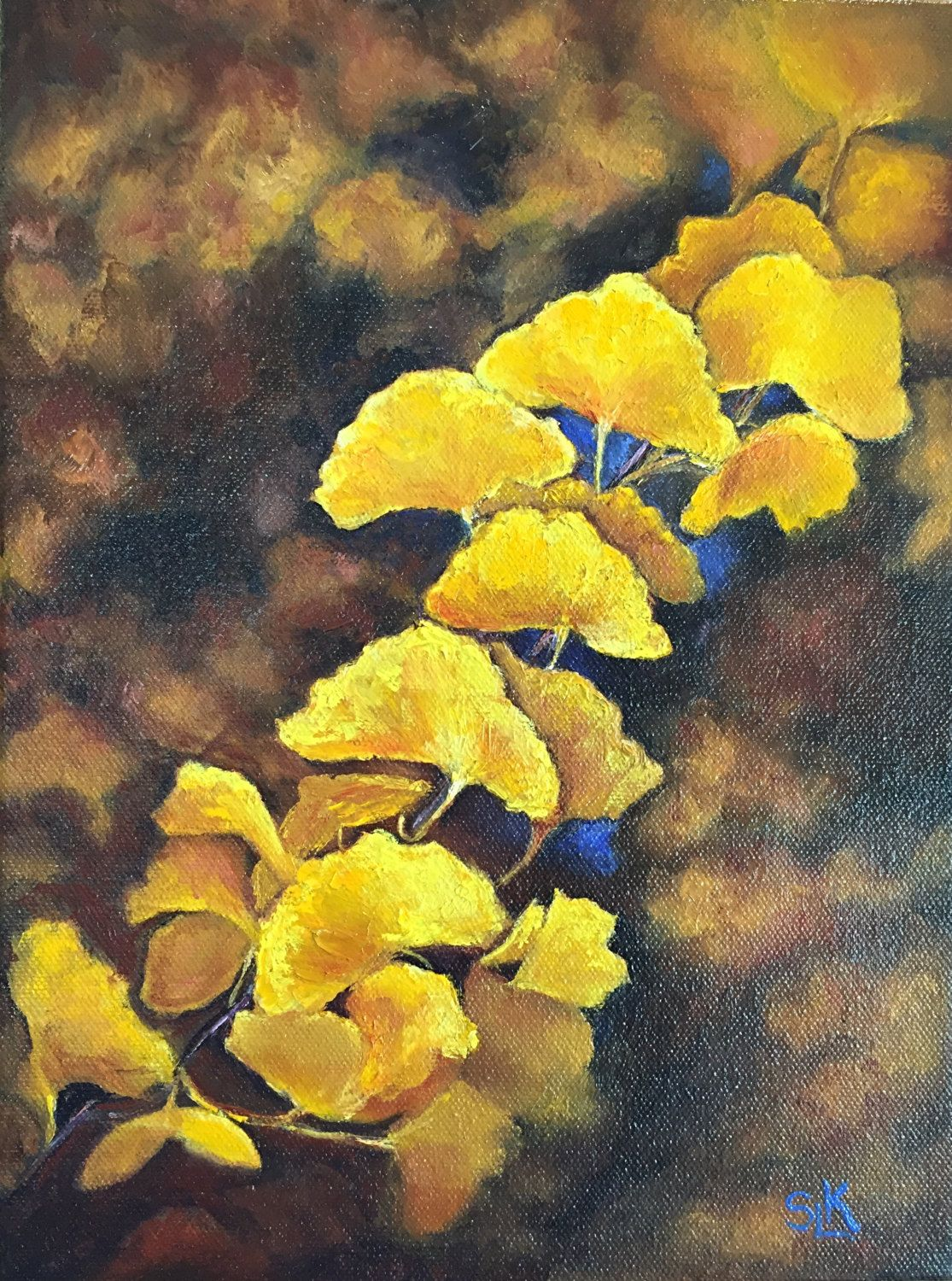 Ginkgo Tree Branch Original Oil Painting by Sue Killingsworth Yellow ...