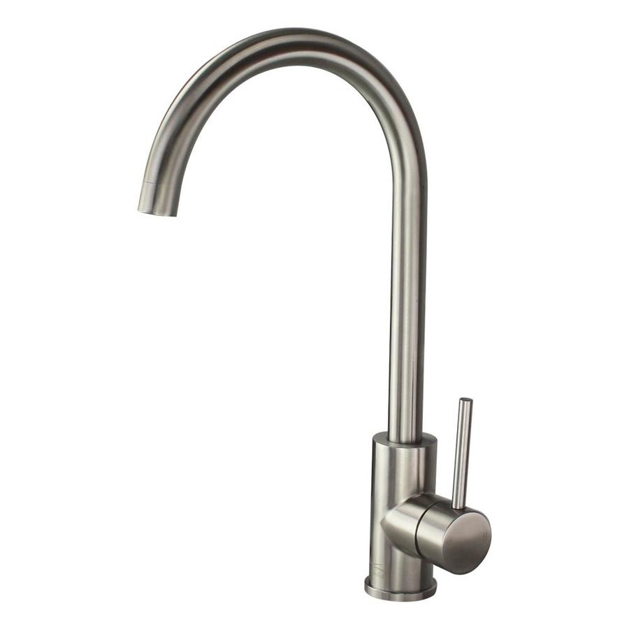 Transolid Cameron Luxe Stainless 1 Handle Deck Mount High Arc Handle Lever Kitchen Faucet Deck Plate Included Lowes Com Kitchen Faucet Transolid High Arc Kitchen Faucet