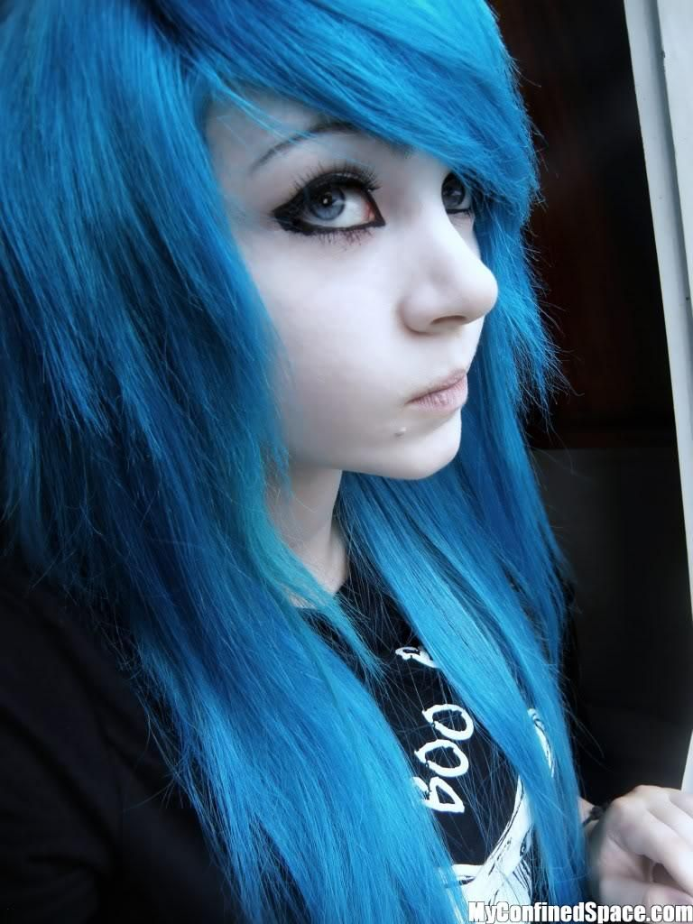 teal scene hairstyles for girls | Emo Girls - Blue Hair ...