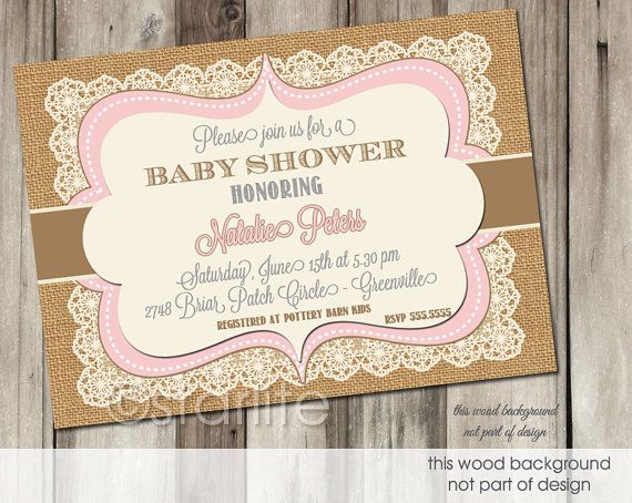 pink brown vintage lace burlap - baby shower invitation - 5x7,